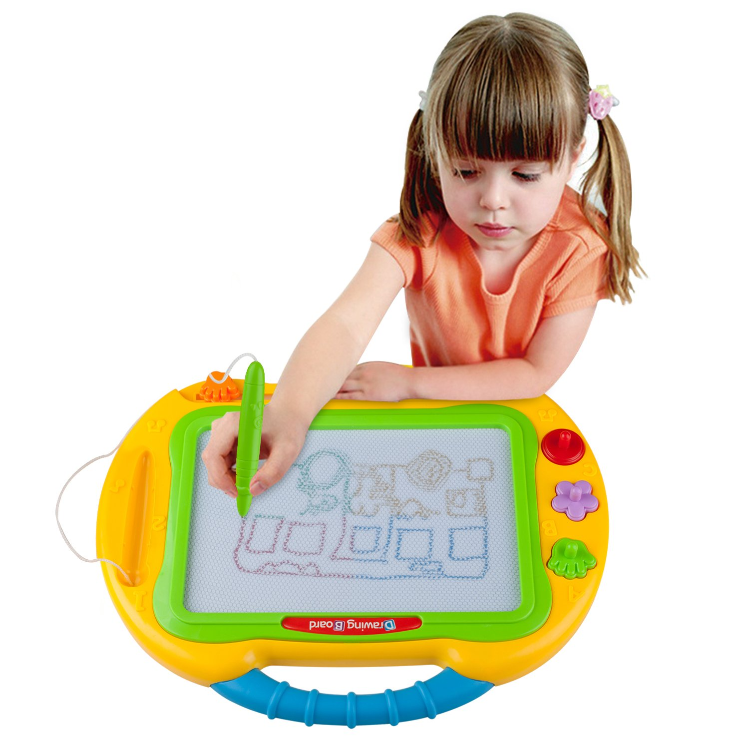 ikidsislands IKS99Y [Travel Size] Color Magnetic Drawing Board for Kids & Toddlers - Non Toxic Large Magna Sketch Doodle Educational Toy for Boys, with 1 Pen & 2 Stamps (Yellow) by ikidsislands (Image #2)