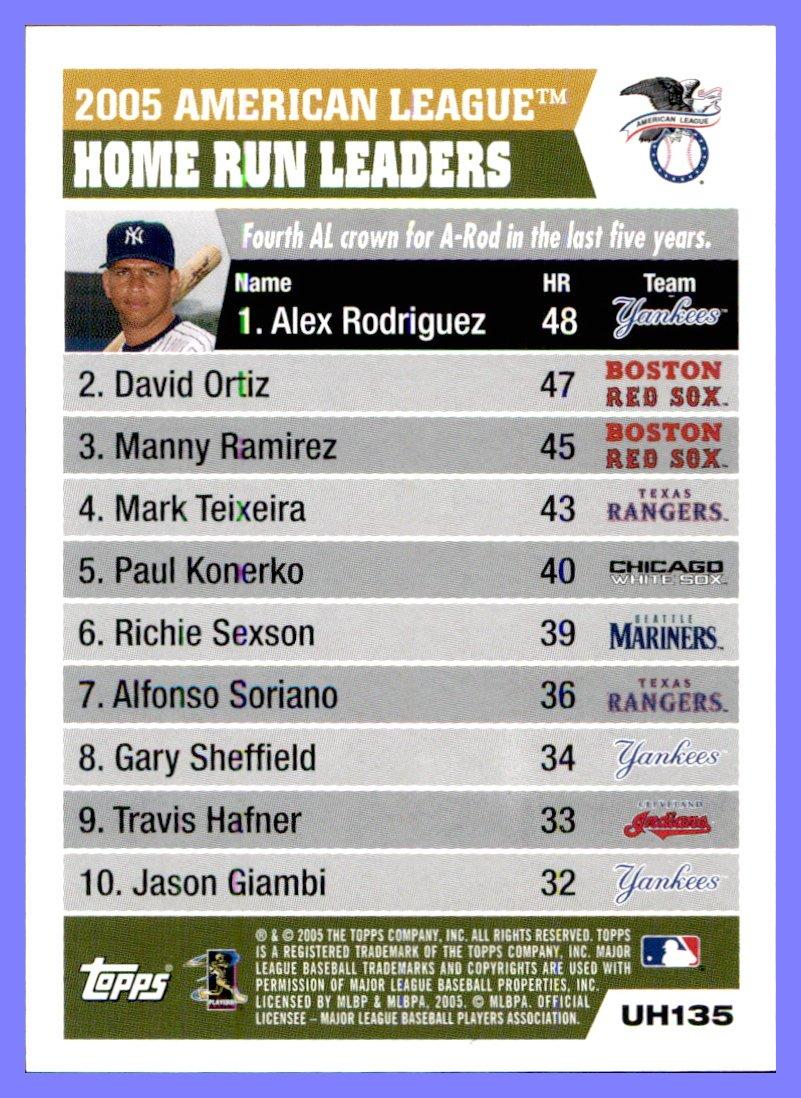 2005 Topps Update #135 Alex Rodriguez David Ortiz Manny