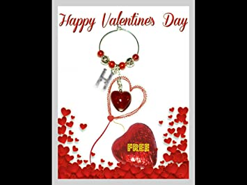 San Valentín personalizable Copa de vino encanto de tarjeta ...