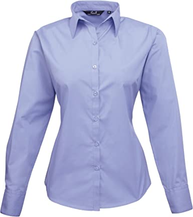 Premier - Camisa lisa de popelín de manga larga para mujer: Amazon.es: Ropa y accesorios