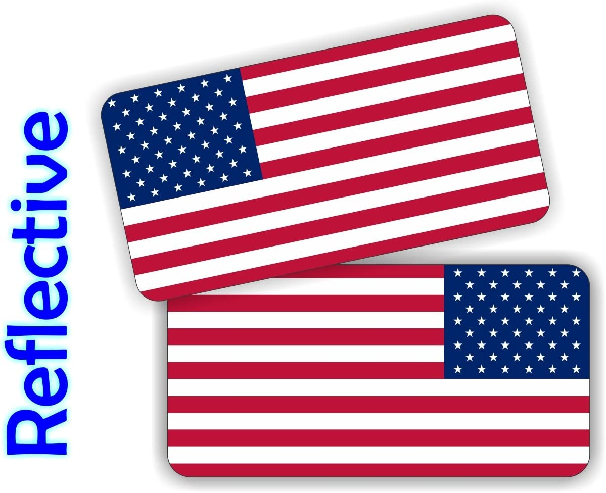 American Flag Hard Hat Stickers Motorcycle Helmet Decals 2x USA Flags