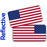 (2) REFLECTIVE American Flag Hard Hat Stickers | Motorcycle Helmet Decals | Labels Toolbox Safety Patriotic Old Glory Flags