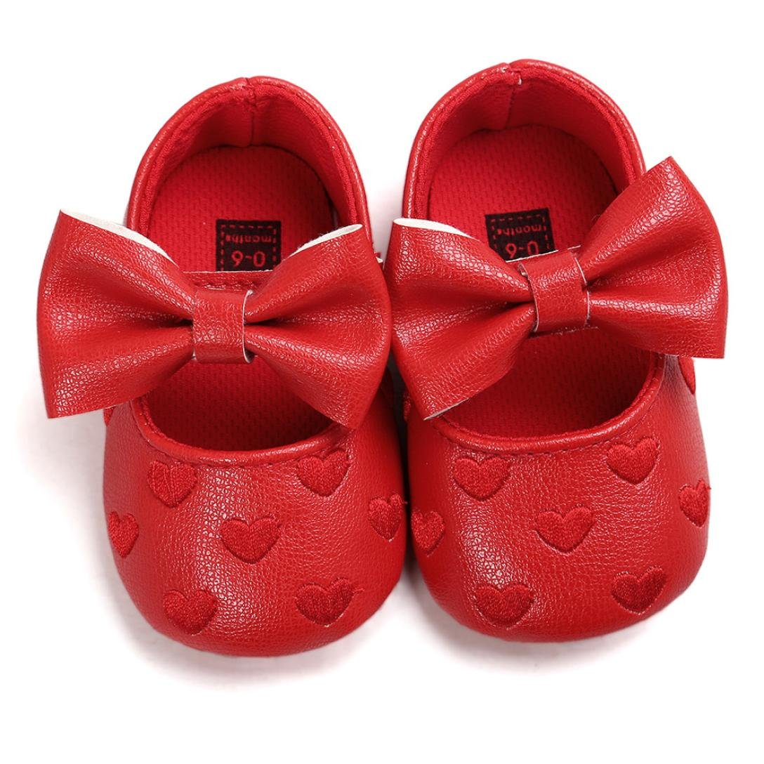 6-12 Months, White Shoes For 0-18 Months Kids squarex Baby Girl Bowknot Leather Shoes Sneaker Anti-slip Soft Sole Toddler