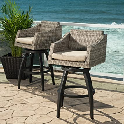 Genial RST Cannes Wicker Swivel Patio Barstools   Set Of 2