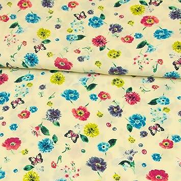 Leinen Viskose Stoff einseitige Bordüre Blumen Stickerei Modestoffe Sommerstoffe