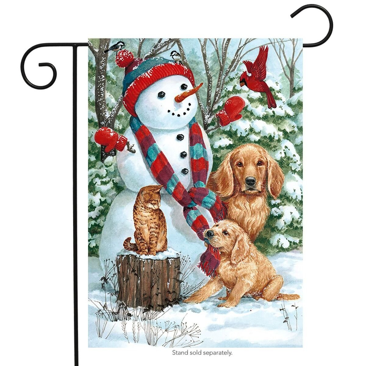 "Briarwood Lane Snow Day Friends Winter Garden Flag Dogs Cat Cardinal 12.5"" x 18"""