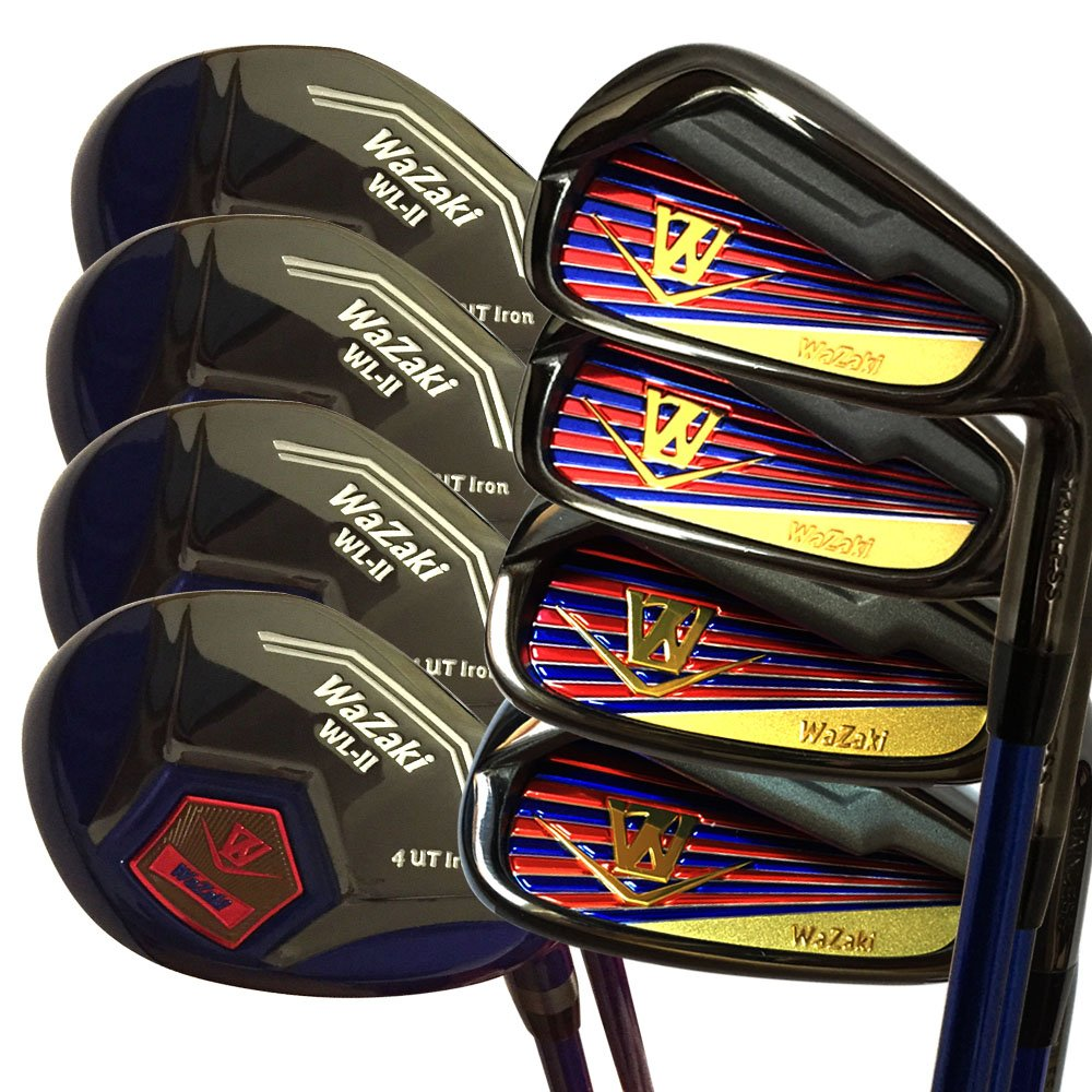 Japan WaZaki Black Finish WL-IIs 4-SW Combo Hybrid Irons USGA R A Rules Golf Club Set + Headcover(pack of 16,Regular Flex)