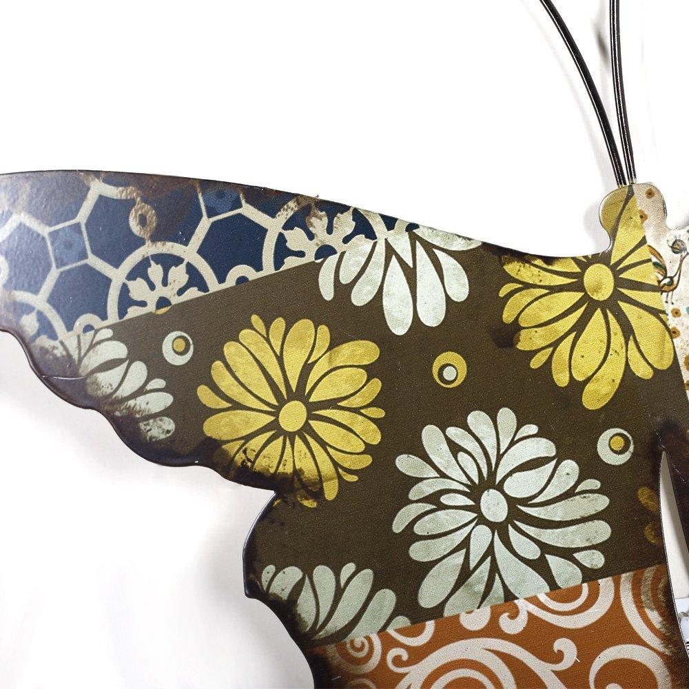 Metallblumen Paintg Schmetterlings-Wand-Kunst-Dekoration, 3D-Wand ...