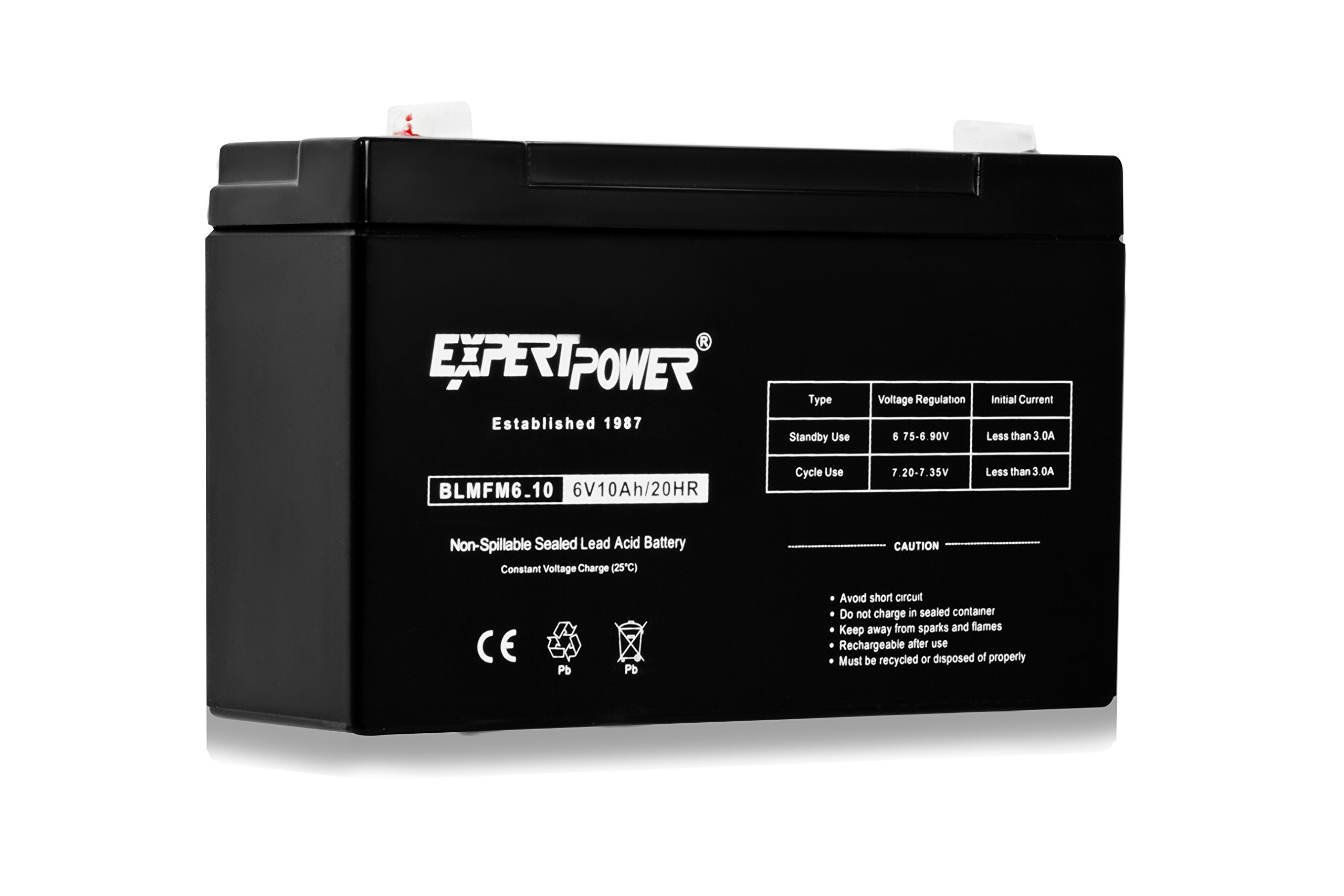 ExpertPower 6V 10AH Sealed Lead Acid (SLA) Battery with F1 Terminal