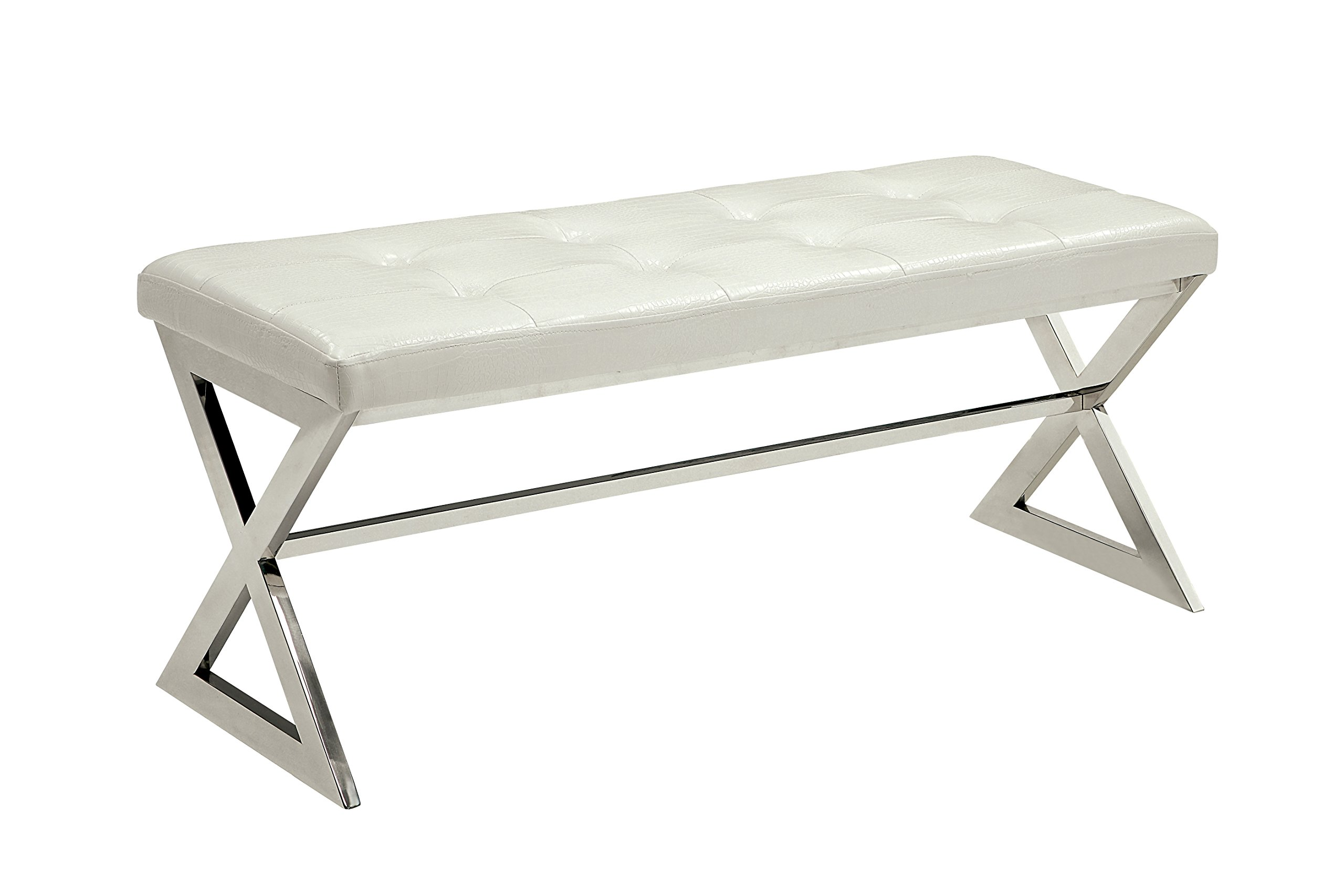 HOMES: Inside + Out IDF-BN6913WH Jeany Contemporary Bench Not Applicable, White by HOMES: Inside + Out