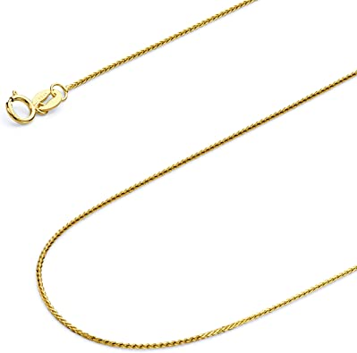 14k Gold Wheat Chain Necklace with Spring Ring 0.9mm