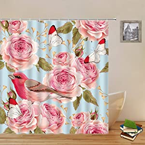 Floral Butterfly Shower Curtains Bird Pink Peony Flower Plant Blue Backdrop Pattern Print Bathroom Decor Polyester Fabric Home Bath Cloth Hanging Curtain Set 70 x 70 Inch with Hooks