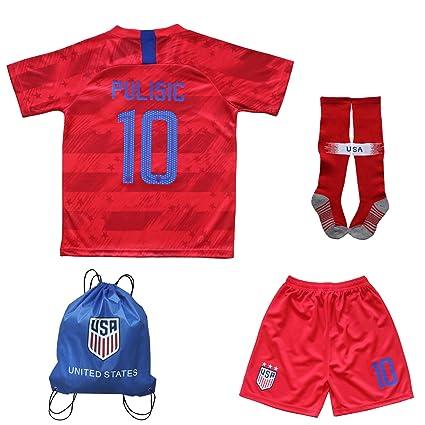 half off ed620 ab952 USA Soccer Team Christian Pulisic Carli Lloyd Alex Morgan Replica Kids  Jersey Kit : Shirt, Short, Socks, Soccer Bag