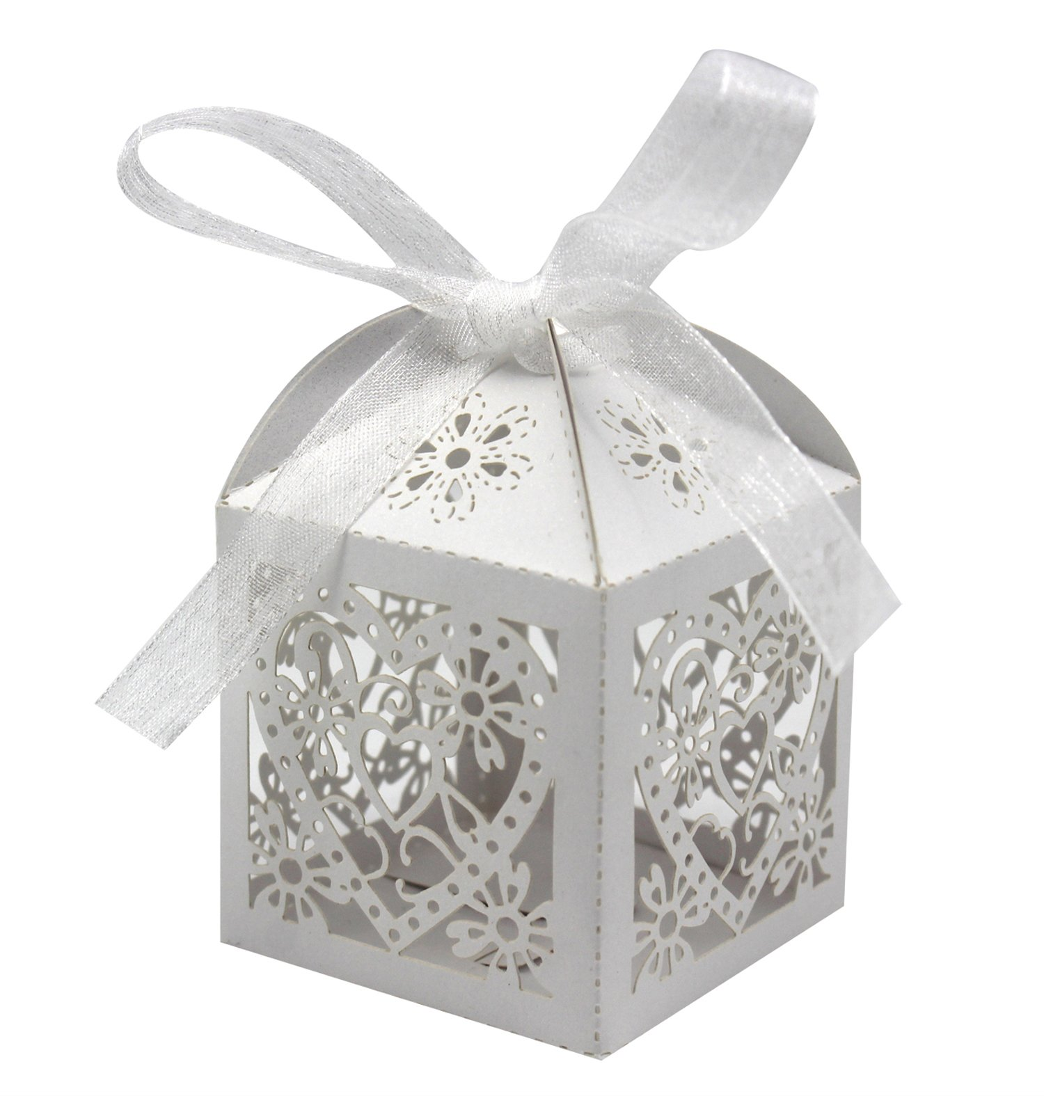 70 Pack Love Heart Laser Cut Wedding Party Favor Box Candy Bag ...