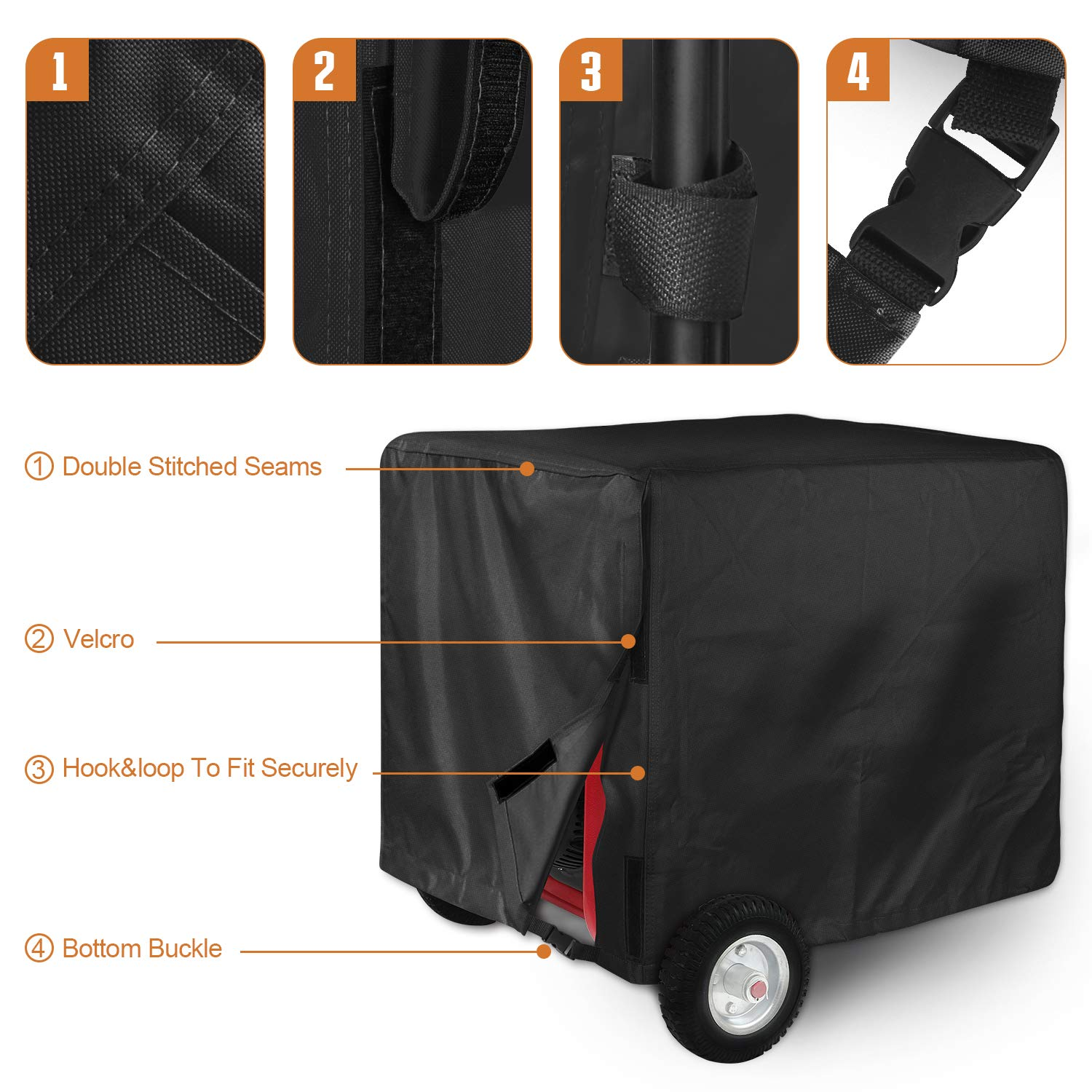 Leader Accessories Durable Universal Waterproof Generator Cover (31'' Lx 29'' Wx 28'' H, Black) by Leader Accessories (Image #4)