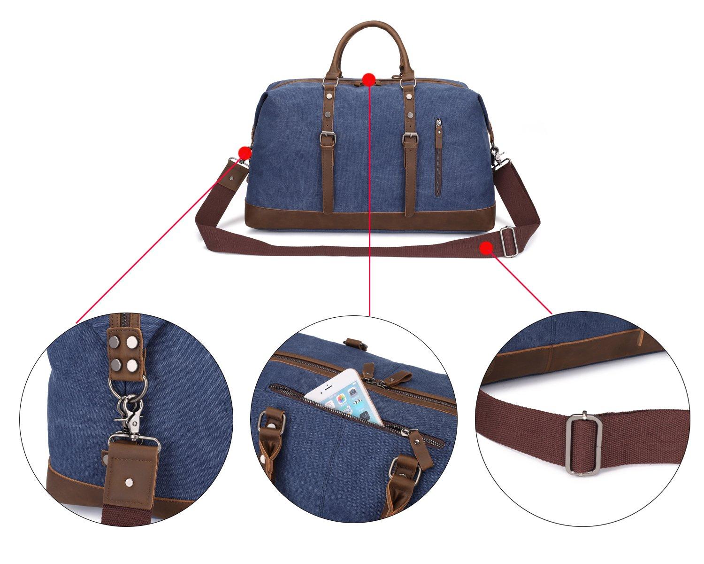 Weekend Bag Weekender Overnight Bag Canvas Vintage Travel Duffle for Men Women by UPANDFAST (Image #7)