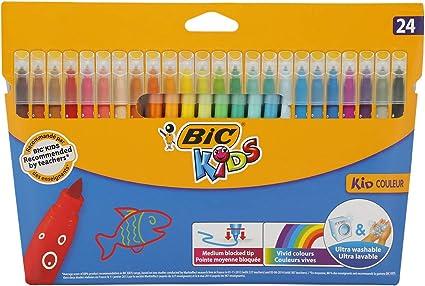 BIC Kids Kid Couleur Rotuladores Punta Media Ultralavables - Colores Surtidos, Caja de 24 Unidades: Amazon.es: Juguetes y juegos