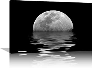 Nature Landscape Wall Art White Moon and Black Sea Wall Decor Moonlight on Ocean Canves Painting Sea Moon Picture Print Ocean Artwork Home Decor for Living Room Bedroom Framed Ready to Hang