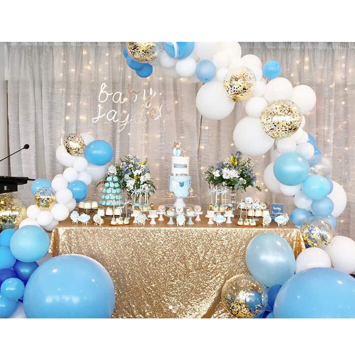 TOPLLON Blue Confetti Balloons 100Pcs Matte Party Latex Balloon Arch Kit for Baby Shower Birthday Party Decoration and Gender Reveal Balloons (18 Inch 10 Inch 5 Inch)