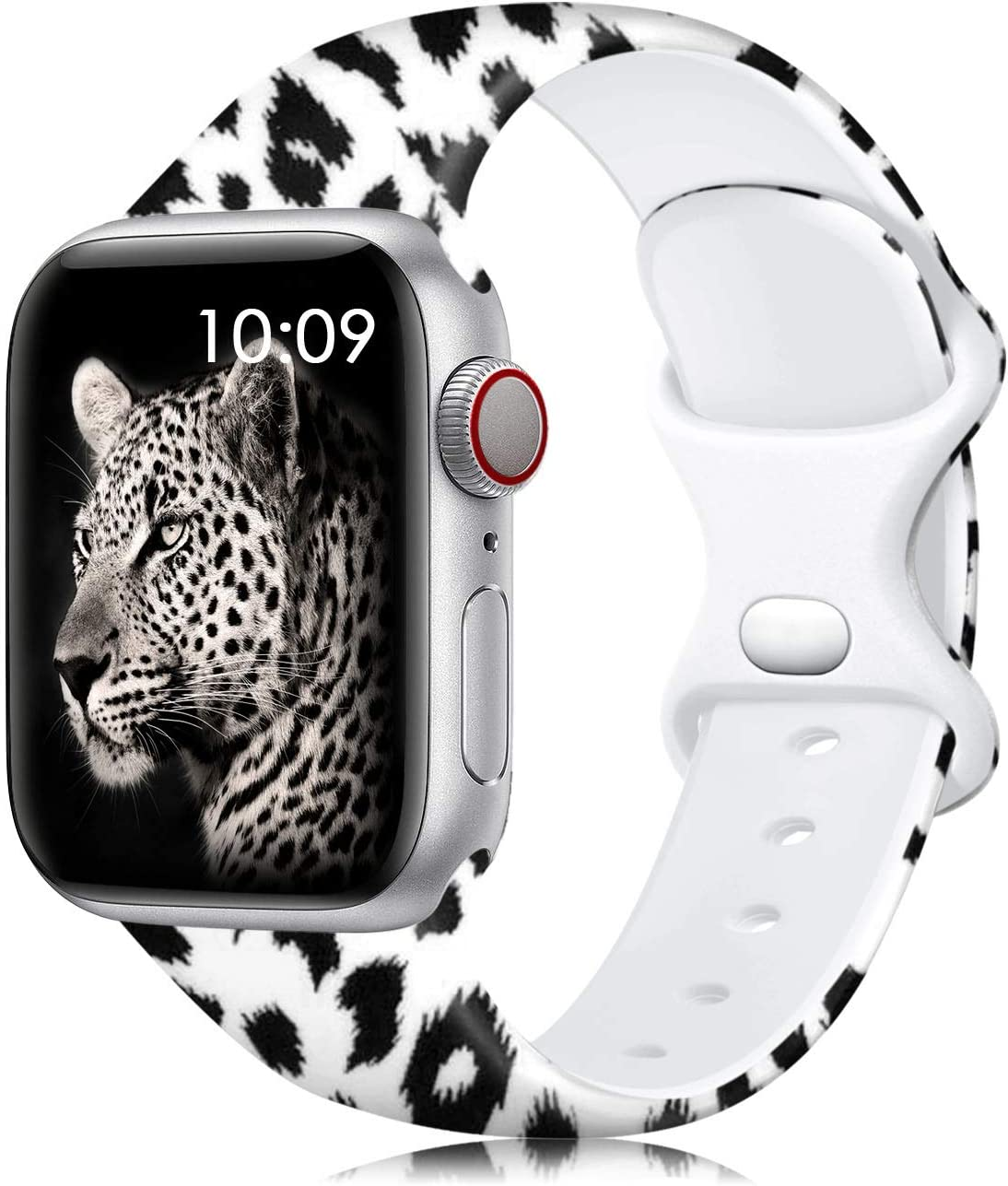 Lerobo Leopard Band Compatible with Apple Watch Bands 40mm 38mm for Women Men, Silicone Floral Pattern Replacement Band for Apple Watch SE Series 6 Series 5 Serise 4 Serise 3 2 1, Black Leopard S/M