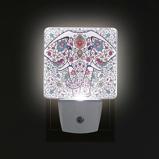 Ahomy - Juego de 2 luces LED de noche con diseño de mandala y elefante que