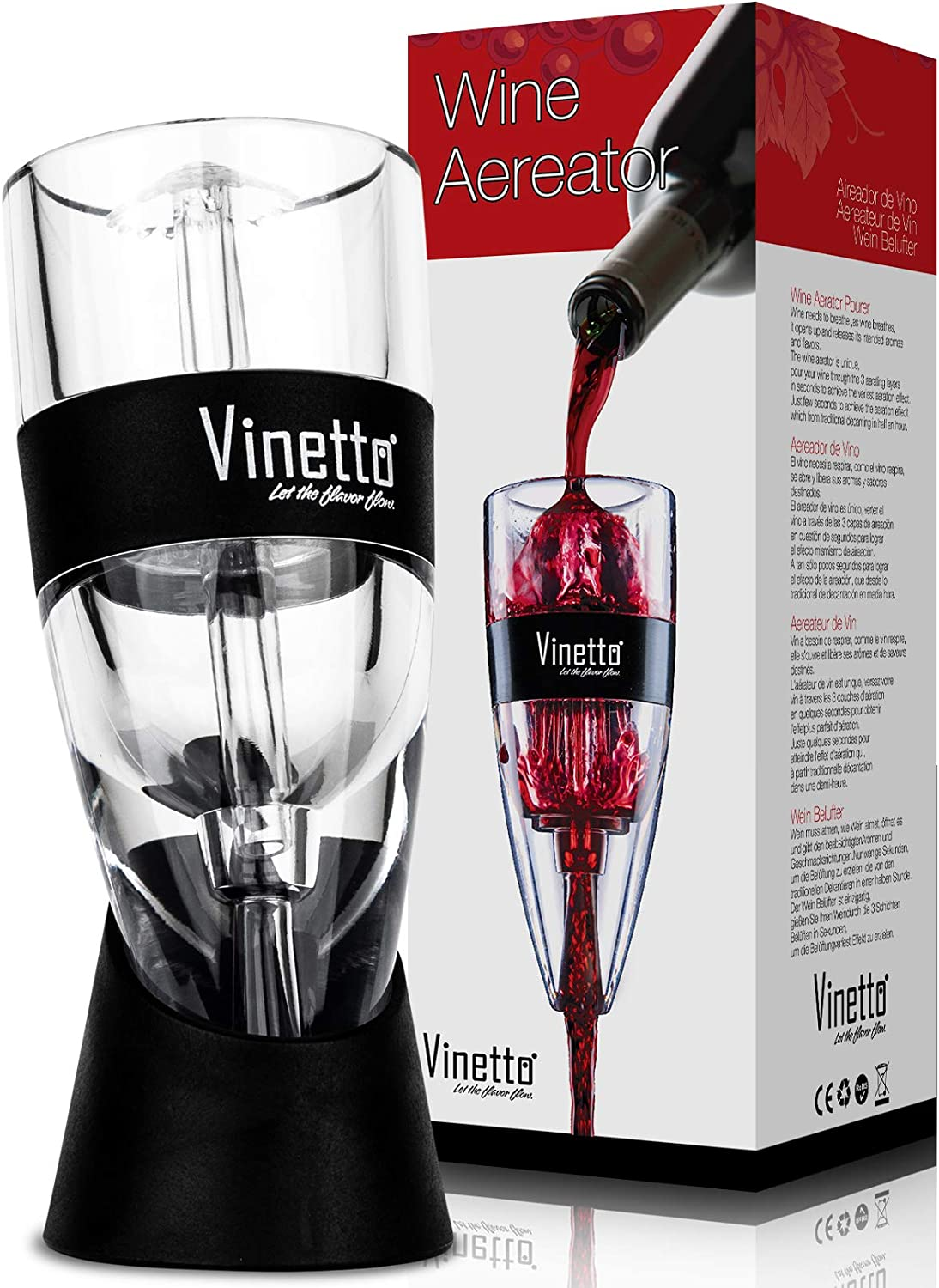Vinetto Wine Aerator – Makes Your Wine Taste Better - Three Aerating Layers - Premium Wine Bottle Pourer for with Gift Travel Pouch & Drying Stand