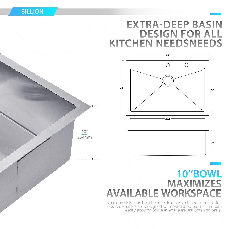 BILLION 25''x22''x10'' Inch Drop-in Overmount 16 Gauge Handmade Single Bowl Stainless Steel Kitchen Sink, Round Corners Topmount Sink With Drainer & Bottom Grid by Billion (Image #3)