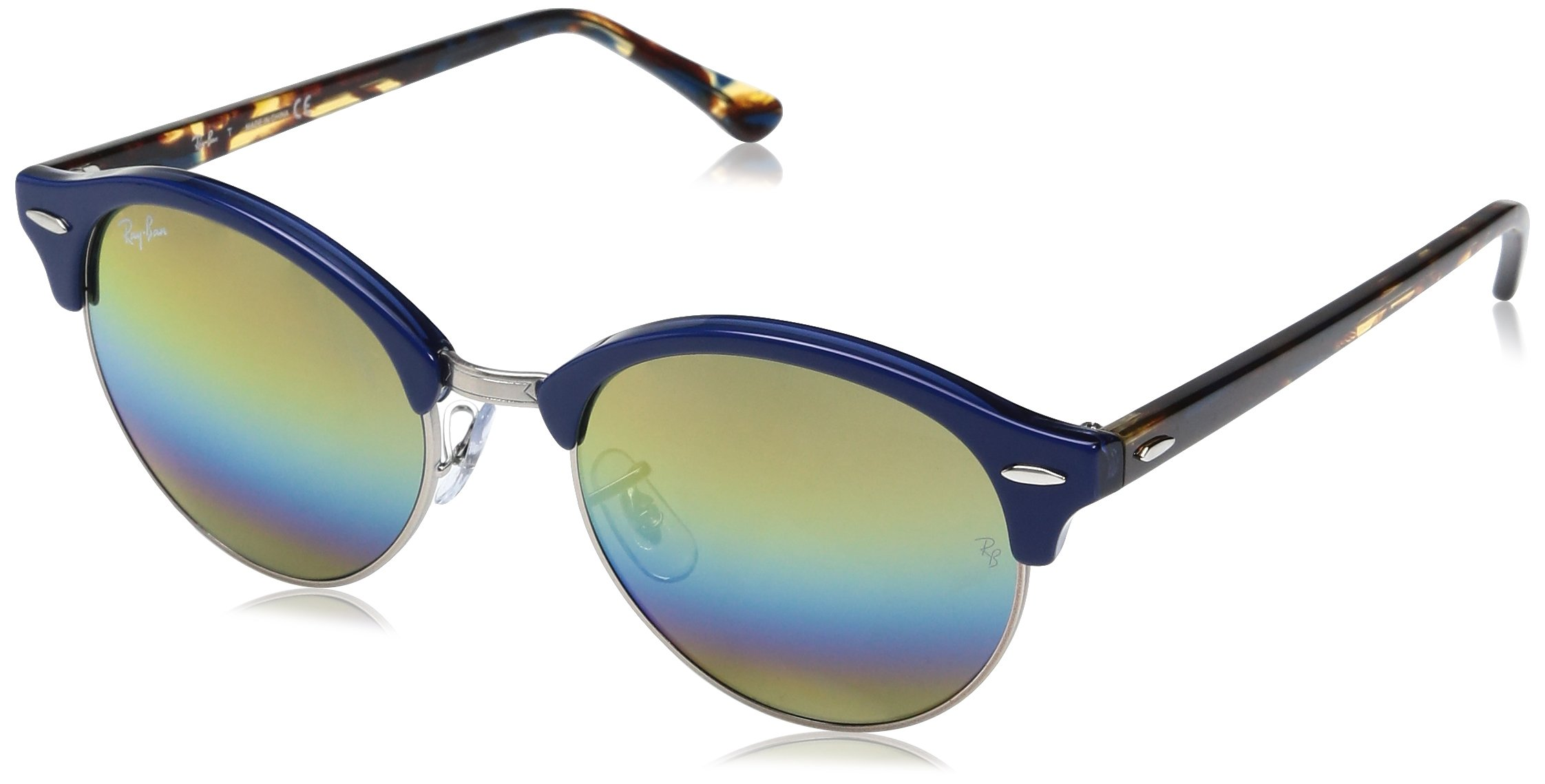Ray-Ban Clubround Round Sunglasses, Top Blue on Trasparent Blue, 51 mm