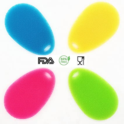 Amazon.com: Silicone Dish Sponge Scrubber, Antibacterial Food Grade ...