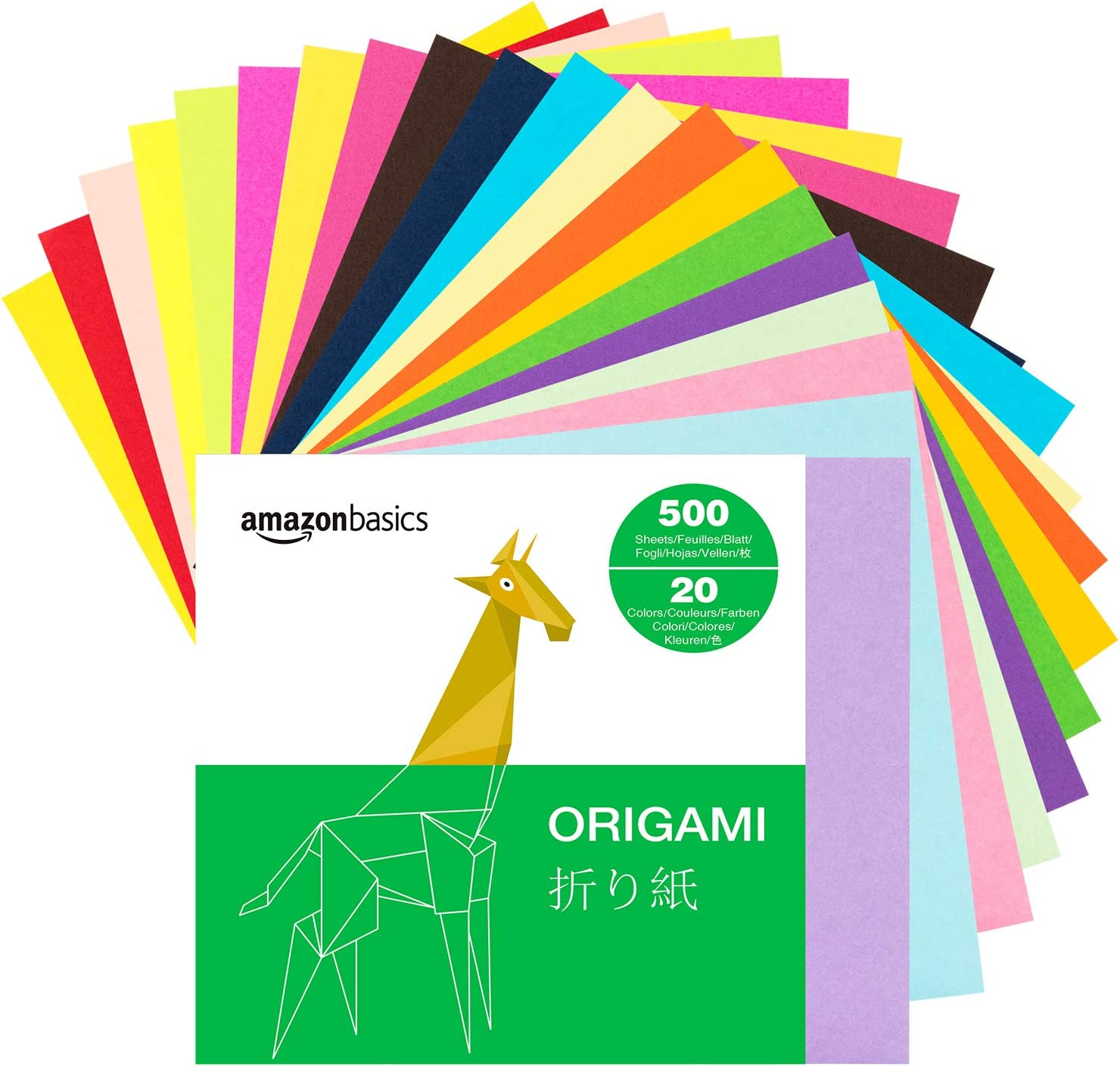 Basics Origami Paper, Assorted Colors, 500 Sheets: Office Products