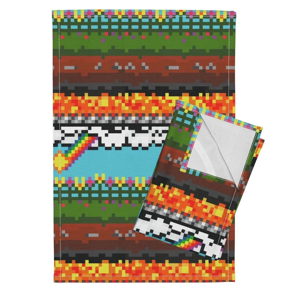 Roostery 8 Bit Pixel Byte Kid Rainbow Video Game Gamer Tea Towels Level 8~8 Layers in 8-Bit by Peacoquettedesigns Set of 2 Linen Cotton Tea Towels