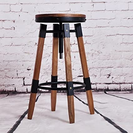 De Bar Y Barstools American Creative Retro Wrought Iron Bar Chairs Solid  Wood Industrial Wind Rotating