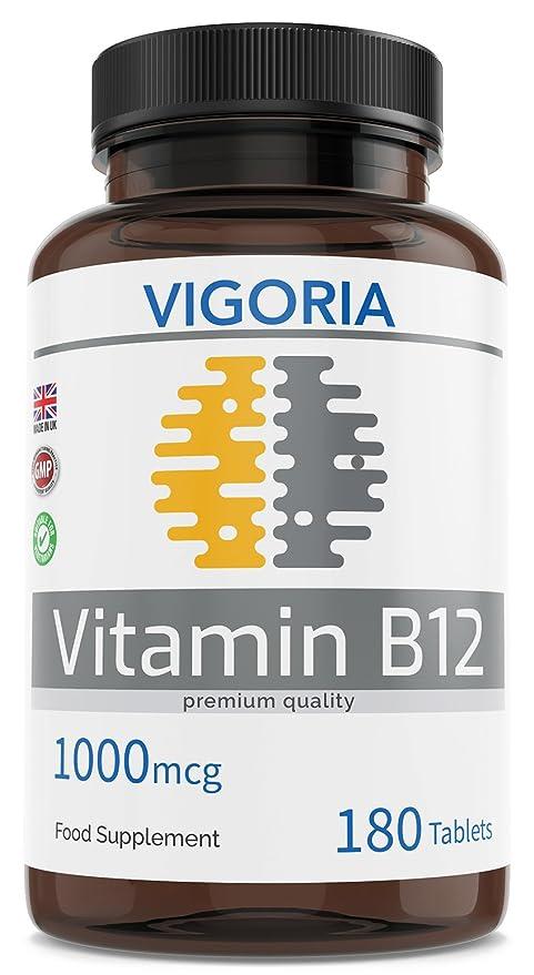 Vitamina B12 1000 mcg 180 comprimidos para 6 meses - Alivia el cansancio y la fatiga