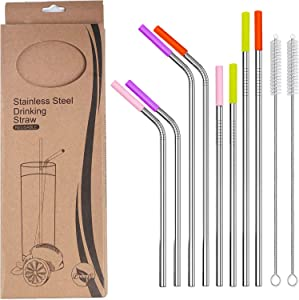 10 Pcs Reusable Stainless Steel Straw, Metal Drinking Straw, Including 2 Cleaning Brushes, Food Grade Color Silicone Head, Environmental Protection Straw. Suitable for 20 oz 30 oz Glass
