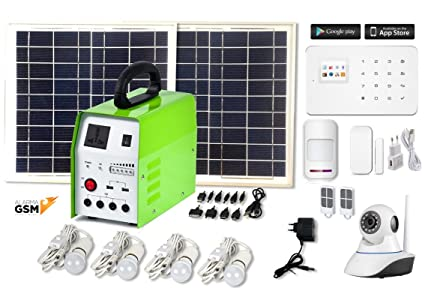 Kit solar 150w + alarma GSM para casa de campo o finca + cámara IP 720