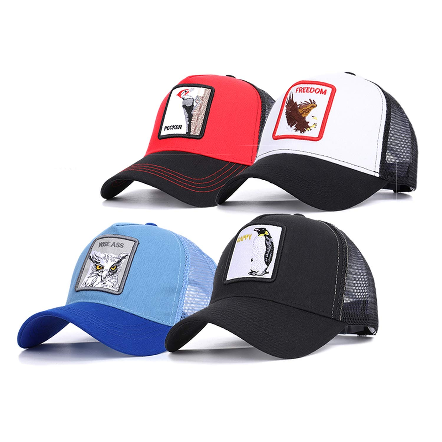 Classic Knitted Baseball caps Breathable Adjustable Unisex Fashion Animal Embroidery Hats
