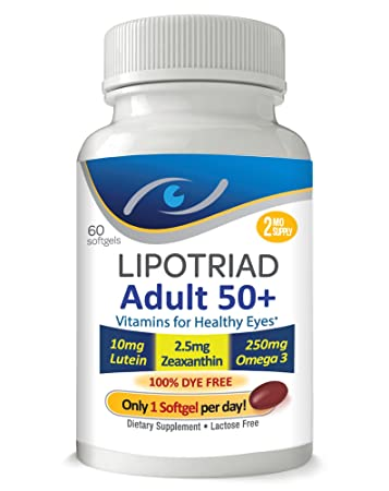 Lipotriad Adult 50+ Eye Vitamin and Mineral Supplement w/10mg Lutein,  Zeaxanthin,