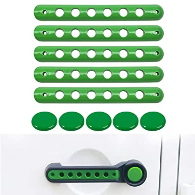 Opall Front Door & Back Door Aluminum Grab Handle Cover for 2007-2020 Jeep Wrangler JK & Unlimited (Handle Insert+ Button -Green): Automotive