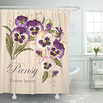 TOMPOP Shower Curtain Pink Pansy Vintage Pansies Flower Floral Antique Beautiful Celebration Waterproof Polyester Fabric 72