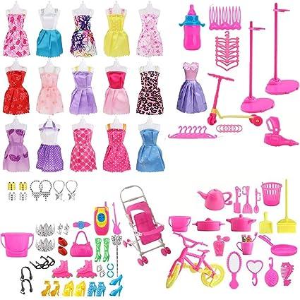 Regalo Natale Ragazza.120 Pack Vestiti Accessori Per Bambole Accessori Per Della Ragazza Compleanno Regalo Natale