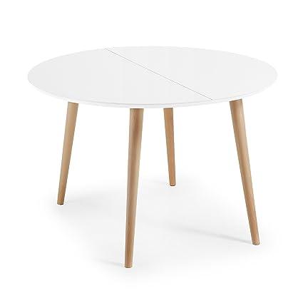 kavehome Tisch ausziehbar Oqui Rund 120 – 200 cm, natur und ...