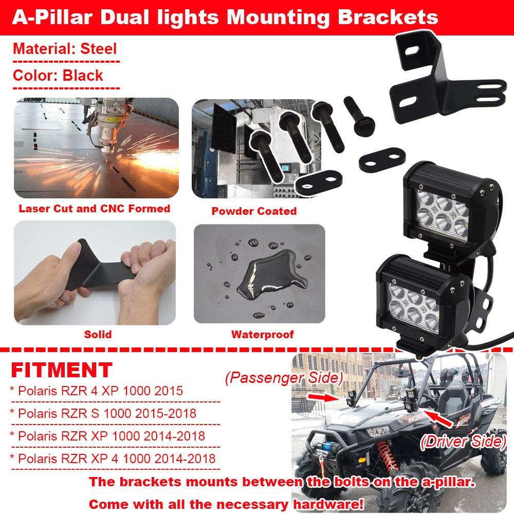 4x 18W LED Spot Work Light Pods /& A-Pillar Roll Bar Dual Lights Mounting Brackets with Rocker Switch Wiring Kit for Polaris RZR XP 1000 900 Models 2014-2019