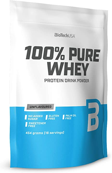 BioTechUSA 100% Pure Whey Complejo de proteína de suero, con aminoácidos añadidos y edulcorantes, sin conservantes, 454 g, Neutro