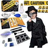 Spy Kit for Kids Detective Outfit Fingerprint Investigation Role Play Dress Up Educational Science STEM Toys Costume Secret A