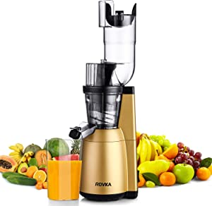 Slow Masticating Juicer Extractor,ROVKA High Vitamin Juice Masticating Juicer,3.15 Inches Wide Chute Cold Press Juicer for Vegetable and Fruit