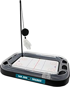 Cat Scratching Toy NHL SAN JOSE SHARKS Hockey Field Cat Scratcher Toy with Interactive Cat Ball Bell in Tracks. 5-in-1 CAT TOY: Cat Wand Poll with CATNIP FILLED Plush Hockey Puck & Feathers.