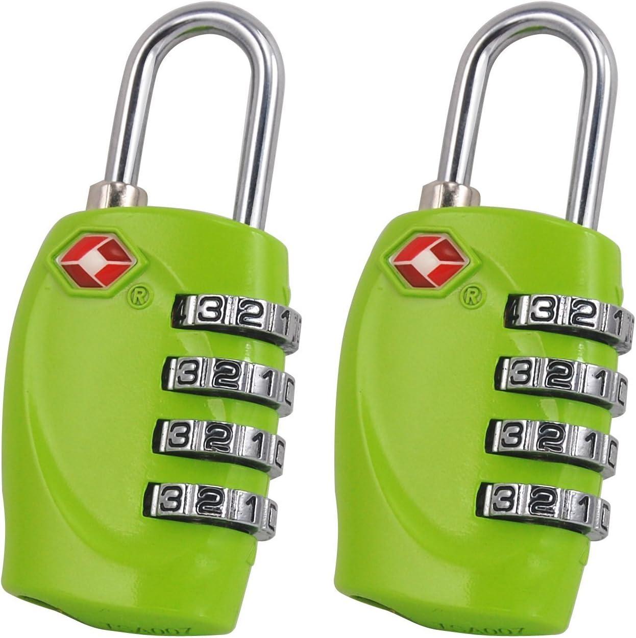 Black, 2 Pack E-db Combination Lock 4 Digit Combination Lock Combination Password Padlock Travel Lock TSA Approved Travel Luggage Suitcase Lock Padlock
