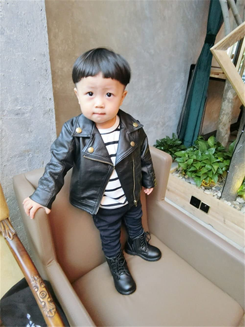 SUPEYA Baby Boys Girls PU Leather Jacket Casual Solid Long Sleeve Outerwear Coat