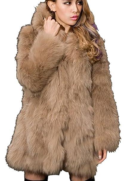 Amazon.com: S & S Mujer Invierno Cálido Fox abrigos de piel ...