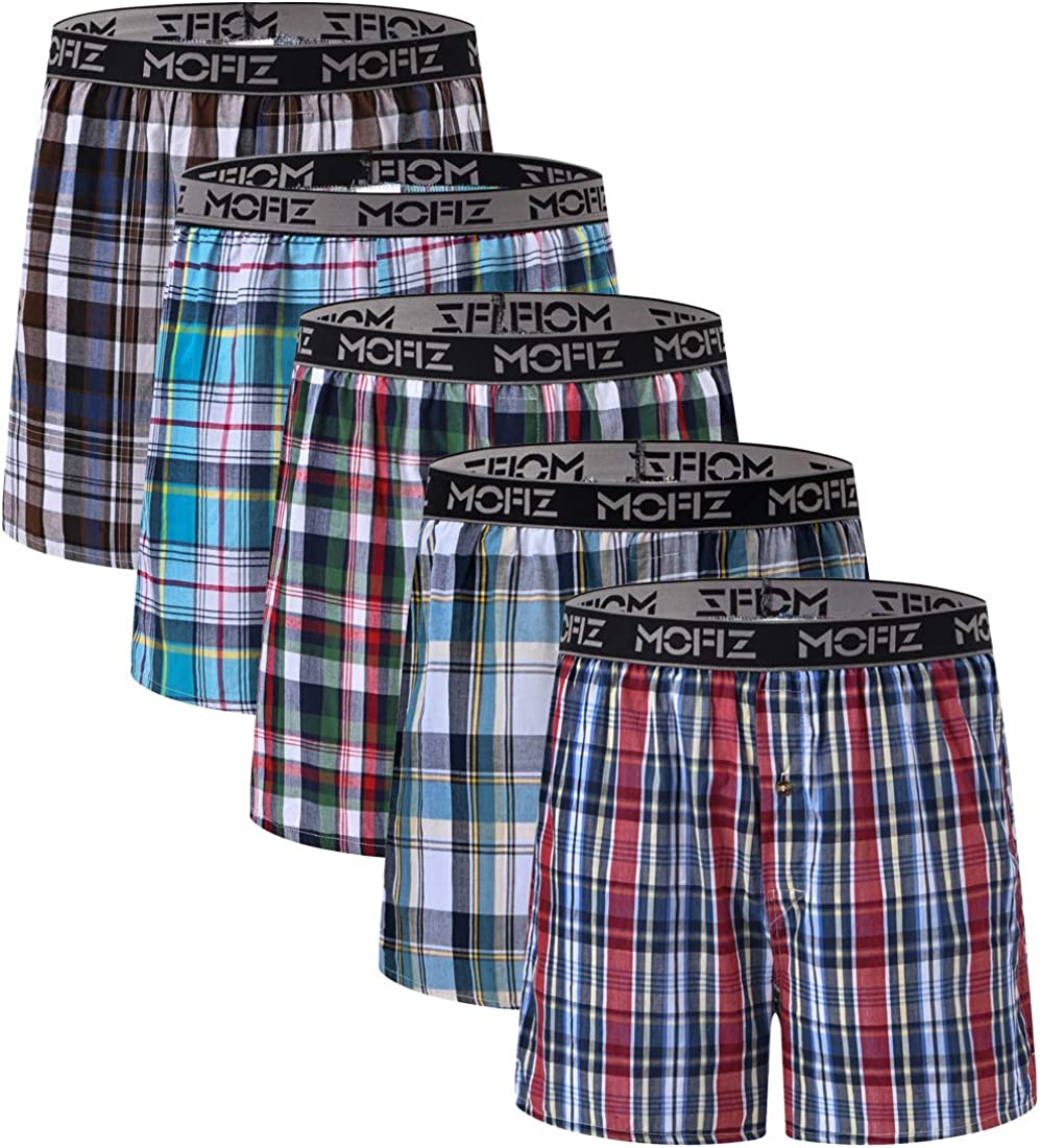 JINSHI Men's 5 Pack Boxer Shorts Classic Fit Tartan Boxer with Elastic Waistband